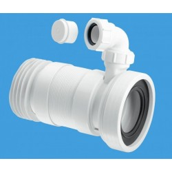 McAlpine 110mm Straight Flexible WC Pan Connector with Vent Boss 170-410mm Length WCF26RV