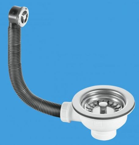 """McAlpine 1 1/2"""" Basket Strainer Waste and Overflow - Stainless Steel BWSTOFSS"""