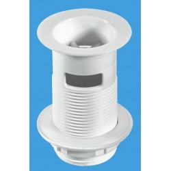 McAlpine White Plastic Backnut Basin Waste with Stainless Steel Flange Slotted W1