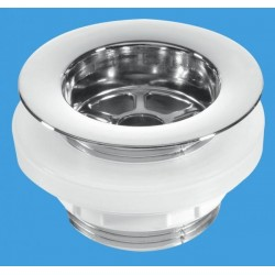 McAlpine Backnut Bath Waste - CP Plastic Flange Black PVC BW5