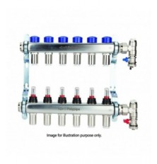 Polypipe 15MM X 6 Port Stainless Steel UFH Manifold