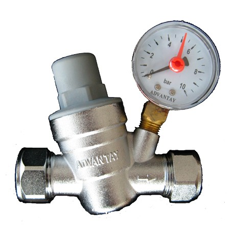 15mm/22mm Pressure Reducing Valve With Gauge