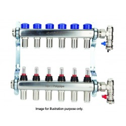 Polypipe 15MM X S STEEL 8 PORT UFH MANIFOLD